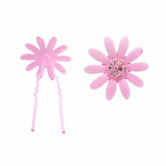 Girls Hair Pin Pink Flower w/ Rose Crystals Wedding Pin
