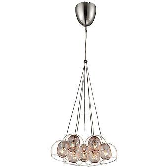 Printemps d'éclairage - Liverpool Chrome et cuivre sept pendentif lumineux DBOP036DQ7EFDP