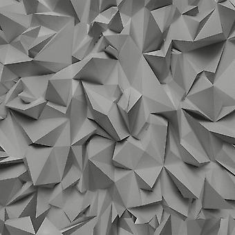Grey Silver 3D Effect Geometric Triangles Wallpaper Metallic Vinyl Paste Wall