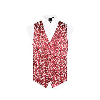 Dobell Mens Red/Silver Waistcoat Regular Fit 5 Button Edwardian Swirl Jacquard Pattern