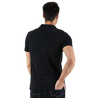 Mens Bench Classic Cotton Polo Shirt In Black- Short Sleeve- Ribbed Cuffs And
