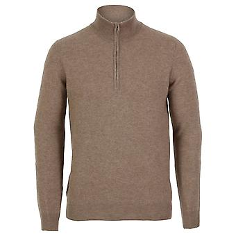 Cashmere Men's Half Zip Sweater, Natural