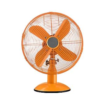 Fusion Living Bright Orange Oscillating Metal Desk Fan