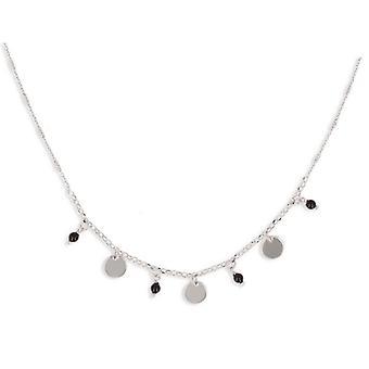 Rhodié sølv halskæde med fuld disk charme og Enamelball 40-5cm