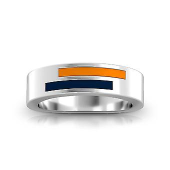 University Of Texas El Paso Sterling Silver Asymmetric Enamel Ring In Orange and Blue