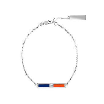 New York Mets Sterling Silver Diamond Chain Chain Bracelet In Blue and Orange