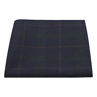 Granatowy niebieski i ciemnozielony czek pocket square, Tweed, Tartan, Kratę