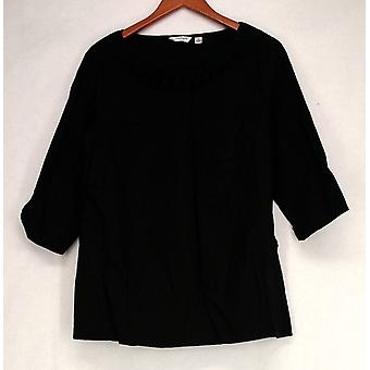 Liz Claiborne York 3/4 Sleeve Embellished Neck Tunic Black Top A212514