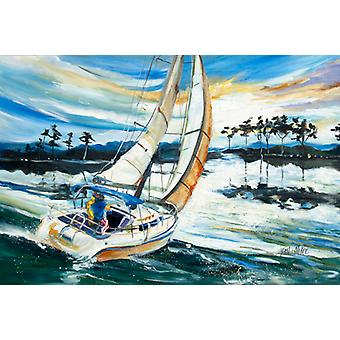 Carolines Treasures  JMK1055PLMT Sailboats on Lake Martin Fabric Placemat