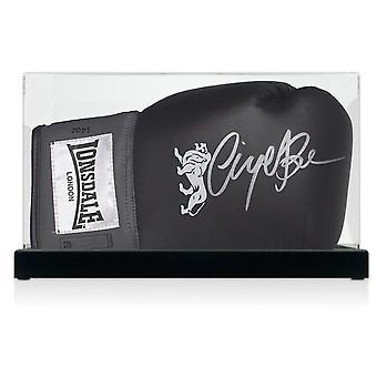 Nigel Benn unterzeichnet schwarz Boxhandschuh In Vitrine