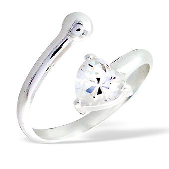 Unclosed - 925 Sterling Silver Jewelled Rings - W81x
