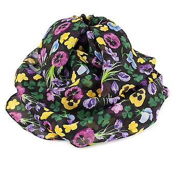 الأبدية جمع البلد حديقة سوداء متعددة الألوان وشاح الحرير النقي الأزهار