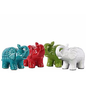 Trumpeting standing elephant figurine in ceramic, small, assortment of 4, multicolor