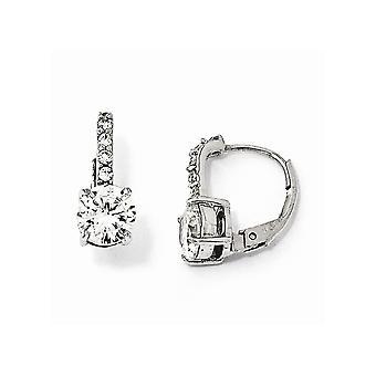 925 Sterling Silver Leverback CZ Cubic Zirconia Simulated Diamond Long Drop Dangle Earrings Measures 15x7mm Wide Jewelry