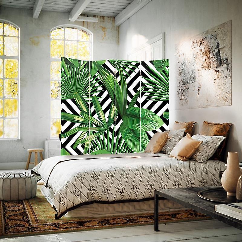Diviseur de chambre, 4 panneaux, toile, composition feuillue