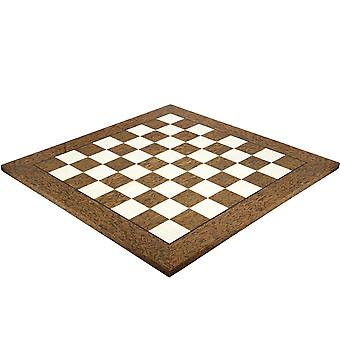 23.6 Inch Lacquered Cocoa Ash Burl and Erable Deluxe Chess Board