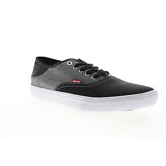 Levis Monterey Denim Hombres Negro Lienzo Encaje Up Low Top Zapatillas Zapatos