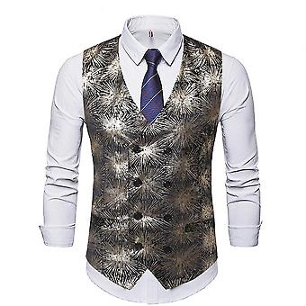 Allthemen Men's V-Neck Fireworks Printed Four Seasons Casual Suit Vest