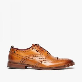 Base London Focus Mens Leather Brogue Shoes Washed Tan