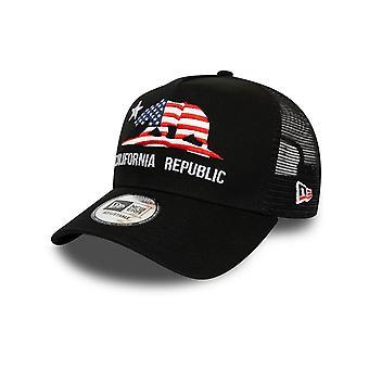 New Era Black California Flag Trucker Cap in Black