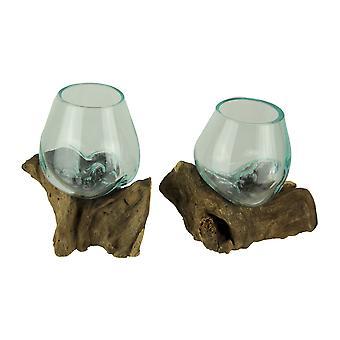 Molten Glass On Teak Driftwood Decorative Bowl Vase Terrarium Planter Set of 2
