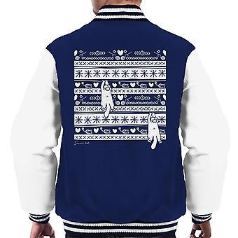 Simon's Cat Cute Christmas Pattern Men's Varsity Jacket