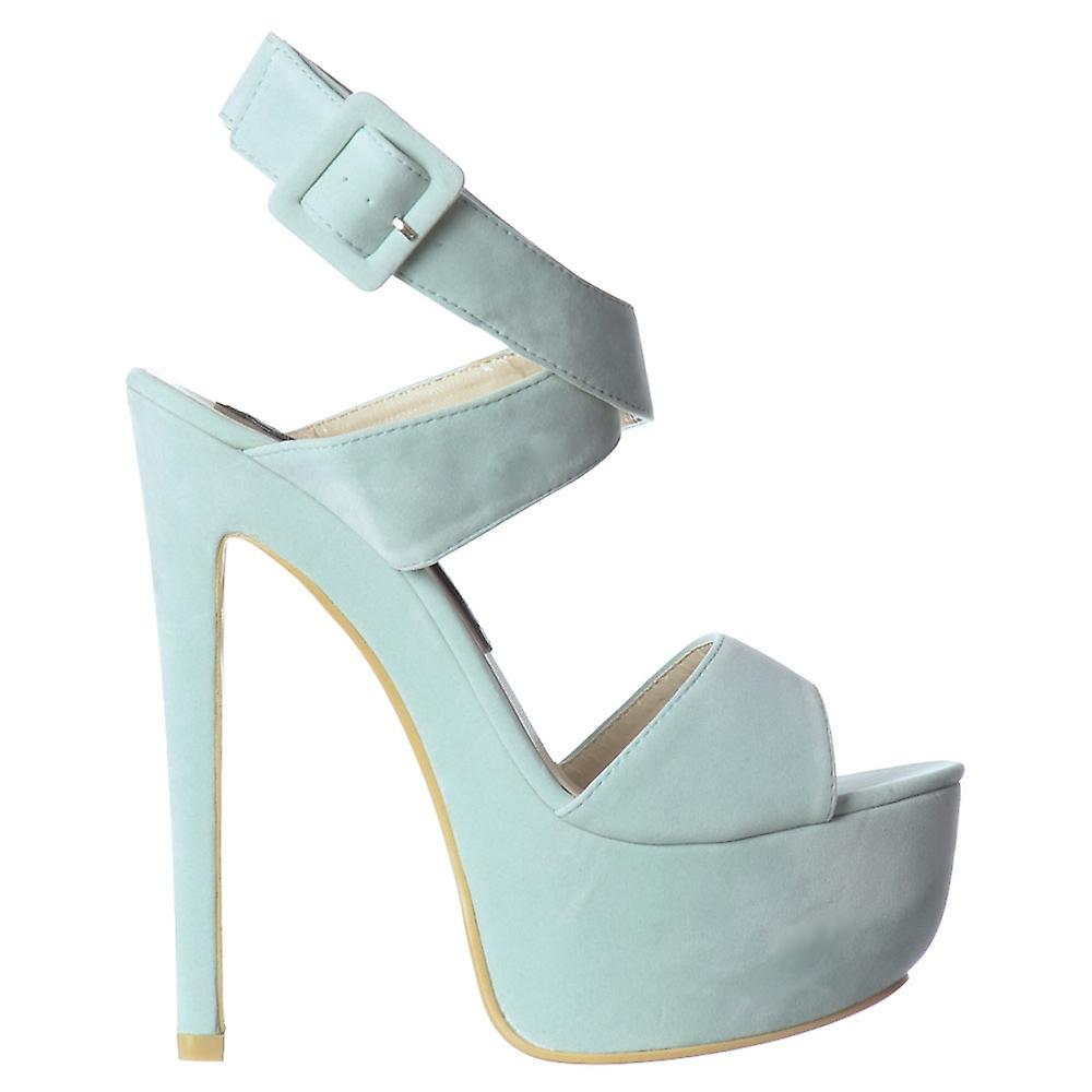 Onlineshoe Suede Peep Toe High Heel Stiletto - Wrap Around Ankle Strap - Black, Mint Green, Red, Nude
