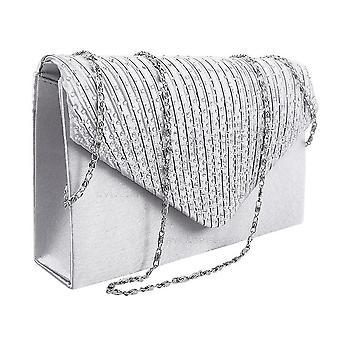 Vincenza moda elegante envolvente satinado diamante cristal encaje cartera monedero