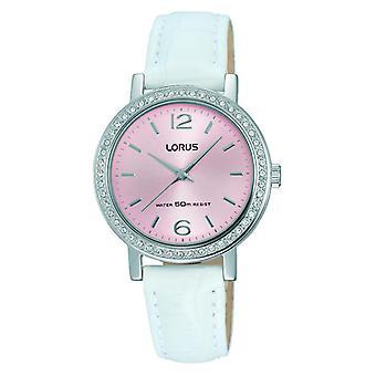 Lorus Dress Silver White Leather Strap Ladies Watch RG295KX9 30mm