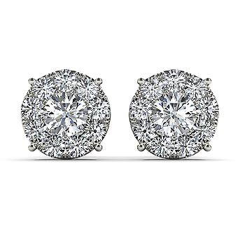 Igi certifié solide 10k or blanc 1,25 ct boucles d'oreilles diamant stud pushback