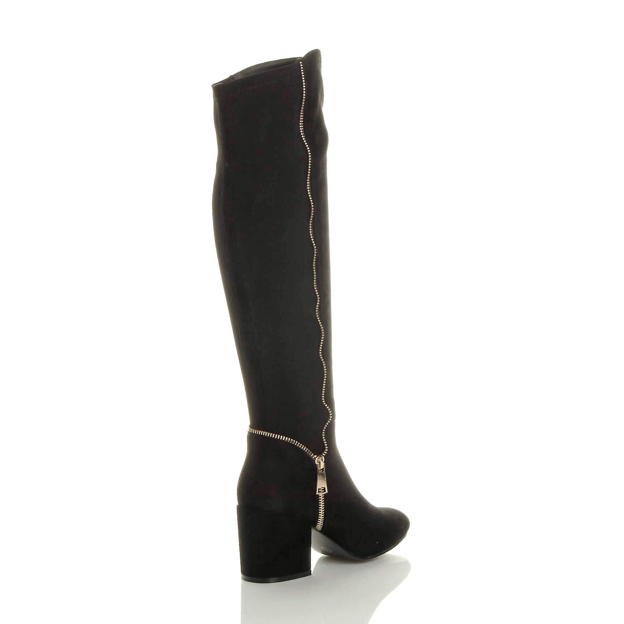 Ajvani Womens Low Mid Block Heel Knee High Stretchy Zip Riding Boots Size 5 38