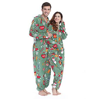 Adult Unisex Christmas Hooded Adult Onesie Pajamas Plus Size Fleece Warm Jumpsuit