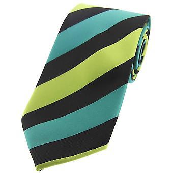 David Van Hagen Striped Polyester Tie - Purple/Pink/Black