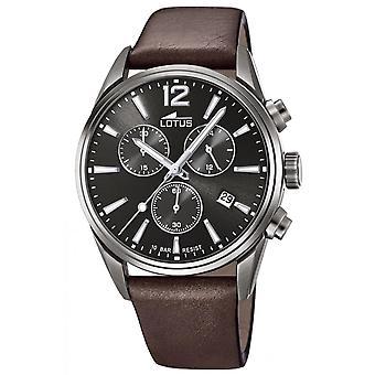 Lotus Watch L18683-1 - CHRONO Dateur/Chronograph Leather Bracelet Brown Black Dial Men