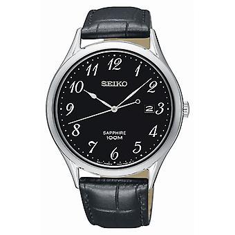 Seiko SGEH77P1 watch - klocka classic läder svart man