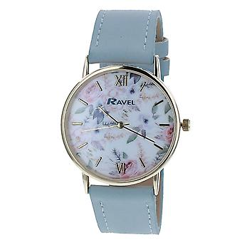 Ravel Ladies - Womens White Dial &  Blue PU Buckle Strap Watch R0134.06.2