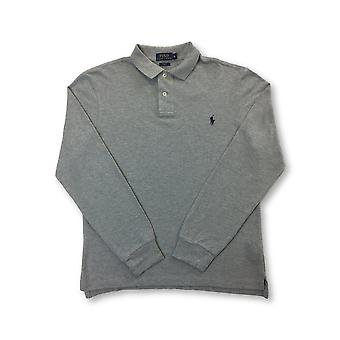 Ralph Lauren Polo slim fit long sleeve cotton polo in grey with logo