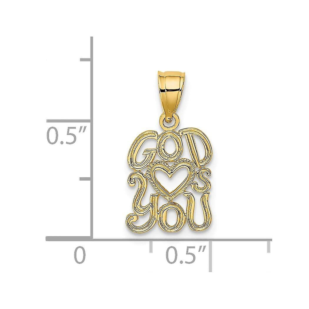 10mm 14k Gold God Love Hearts You Pendant Necklace Jewelry Gifts for Women