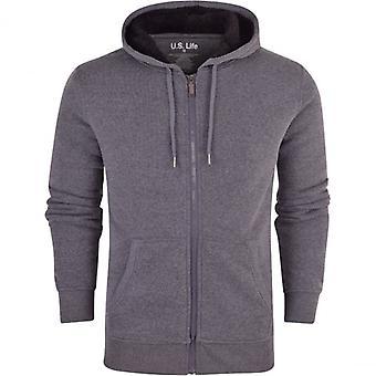 52_DNM Mens Soft Fleece Lined Hooded Jumper Sweatshirt Zip Through Up Plain Coat Jacket