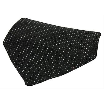 David Van Hagen Box Weave Pin Dot Silk Pocket Square - Black/White