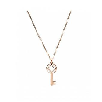 Fossil necklace and pendant JF03195791 - CLASSICS Dor Rose Nacre 50/5 - 5 cm Women's Steel