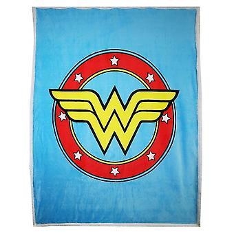 DC Tegneserier Wonder Woman Logo Tykk Micro Sherpa Kaste Teppe