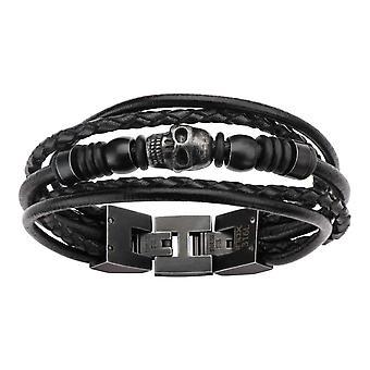 Men's stainless steel bracelet with skull, black