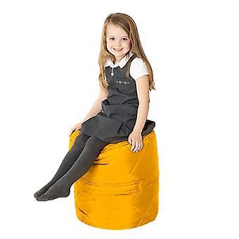 Fun!ture Gewatteerde Ronde Kids Bean Bag | Outdoor Indoor Woonkamer Childrens Cylinder Beanbag Zitplaatsen | Waterbestendig | Levendige Play Kids Kleurenstoel | Hoge kwaliteit en comfortabel (geel)