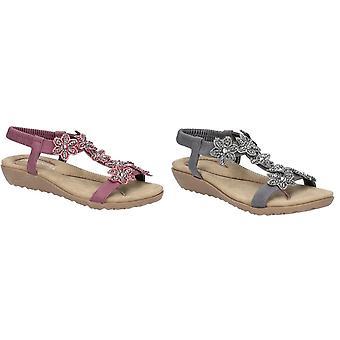 Fleet & Foster mulheres/senhoras Magnolia elástica T-bar sandália
