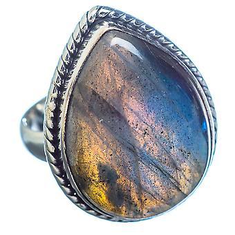 Labradorite Ring Size 6.5 (925 Sterling Silver)  - Handmade Boho Vintage Jewelry RING3555
