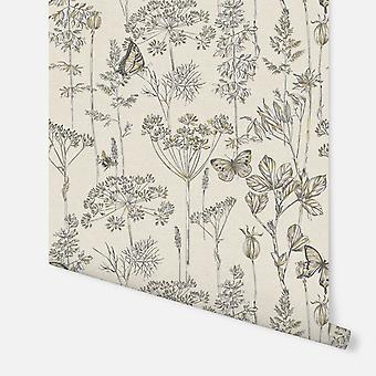 904105 - Meadow Floral Charcoal & Ochre  - Arthouse Wallpaper