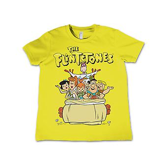 The Flintstones T Shirt Vintage Family Logo Official Kids New Yellow 3-12yrs