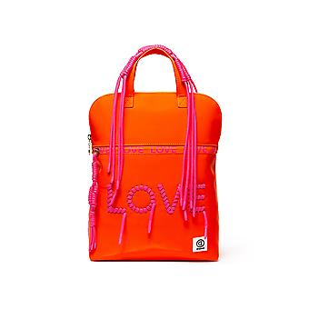 Desigual Women's Pop Fluor Nanaimo Orange Backpack with Pink Love Lettering
