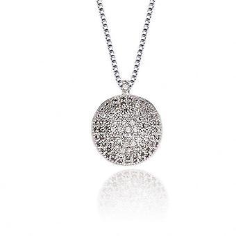 Colier cu pandantiv cu diamante sintetice - jumătate - argint
